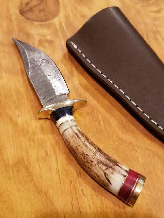 Small Deer Antler Handle Hunting Knife Damascus Blade Stag Horn Collection With Leather Sheath Premium Outdoors (A256)