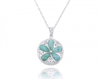 Sterling Silver Sand Dollar with Larimar and CZ Pendant