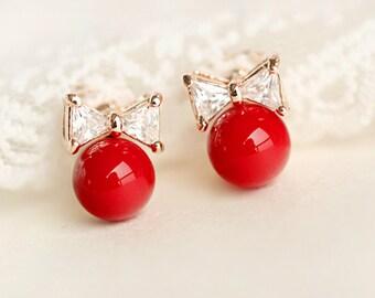 E043 Red Pearl Crystal Rhinestone Bow  Stud Earrings Post Earrings Pierced Earrings with 18 karat Gold Plated & 925 Sterling Silver Post