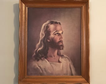 Head Of Christ by Warner Sallman 1940 | Kriebel and Bates copyright 1941 Vintage Litograph Print