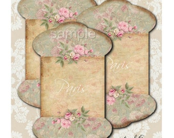 INSTANT DOWNLOAD  Spool Tags No. 8   - Printable Digital Collage Sheet - Scrapbook - Supplies Tags