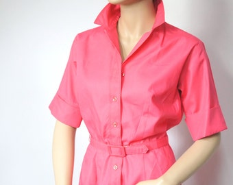 Dress Vintage 1970's Shirtwaist Vintage Coral Pink Classic Cotton Belted Short Sleeved Size Small Petite