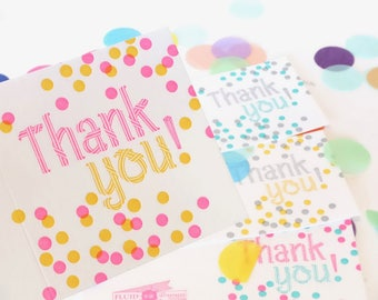 Colourful Thank You Card, with thanks card, Confetti, happy for all ages, bright, neon exciting, thank you card set, thank you notes, thanks