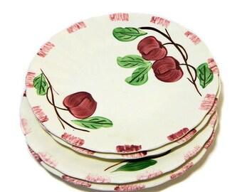 Four Blue Ridge Pottery Autumn Apple Small Plates Southern Potteries