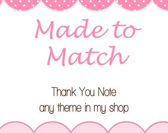 Printable Made to Match Thank You Note