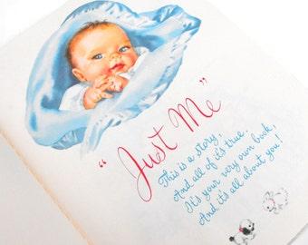 "Vintage Baby Record Book ""Just Me"" Journal Photo Album Box 1972 Edition 1956 Illustrations Infant Newborn Boy Girl Shower Gift Nursery Decor"