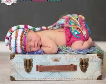 Newborn Baby GiRL Hat Knit BaBY PHoTO PRoP Big Tassel Stocking Hat LoNG Tail SWEETUMS Pink Lime WHiTe Stripe Beanie CoMiNG HoME Pixie Cap