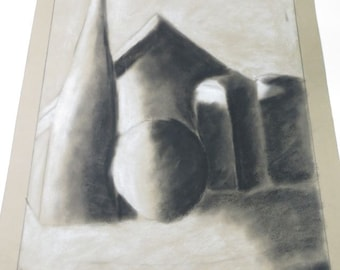 Original Charcoal Still Life Charcoal Drawing