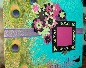 Premade 12 x 12 Peacock Scrapbook Page