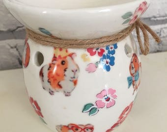 Guinea Pigs Wax melt  burner in Cath Kidston pets Party Guinea pigs and walton rose flowers , animal lover, guinea pig lover, moms day