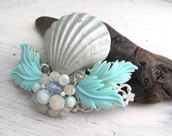 Beach Wedding No.12 - Shimmering Silver Seashell and Aqua Vintage Jewel Assemblage Bridal Hair Comb, Coastal Wedding
