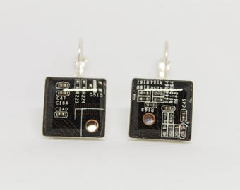 Earrings with recycled motherboard of the computer. Electrical circuits. Gift for her.  Gift Nerd and geek. black earrings