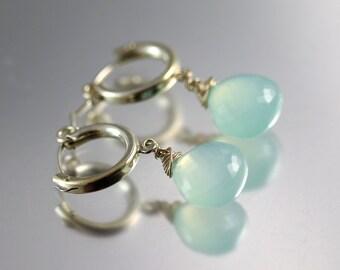 Chalcedony Hoop Earrings - Sterling Silver - Aqua Chalcedony Earrings - Heart Briolettes
