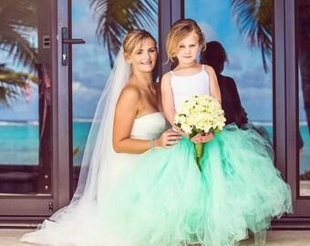 Mint Green Flower Girl Tulle Skirt - Sewn Mint Green Tutu - Long Length - Made to Order - Weddings, Photo Prop, Birthday, Portraits