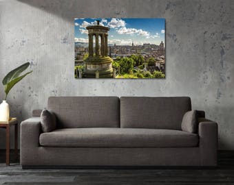 Printed Canvas Picture Art Edinburgh Scotland Calton Hill Castle Stretcher Frame Strips Included - Free Shipping - Home Decor Photography