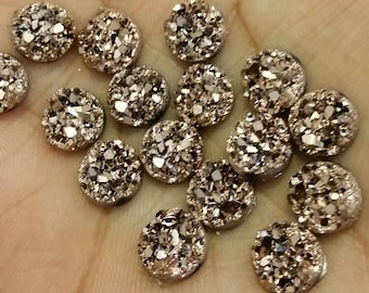 Metallic Rose gold 8mm chunky faux druzy Cabochons 10pcs