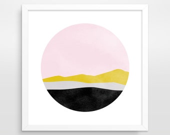Scandinavian Art Minimalist Art Mid Century Modern Pink Wall Art Pink Abstract Art Office Decor Pastel Art Abstract Landscape