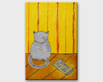 Gray cat nursery painting for children. Original kitty and book illustration on canvas. Tiny painting / Home decor