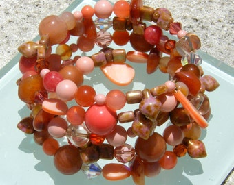 Beaded Memory Wire Bracelet - Sea Corals for summer beach, coastal jewelry theme