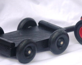 Toy Black Trailer to hook behind the Tractor - Handcrafted Wooden Black Trailer or Wagon to pull behind the Farm Tractor