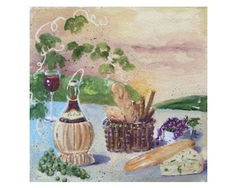 Original Painting * ITALIAN SCENE * Wine With Bread And Cheese * Small Art Format by Rodriguez