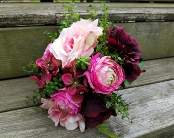 Rustic Country Wedding Bridesmaid Bouquet with Wine Burgundy Colored Roses and Pink Hydrangeas Succulents Fern Lace