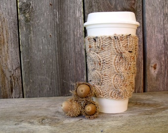 Coffee Sleeve, Coffee Cup Sleeve, Coffee Cozy in Tan Tweed, Coffee Cup Cozy, Coffee Cup Sleeve, Travel Mug Cozy, Tan Tweed, Knit Accessories