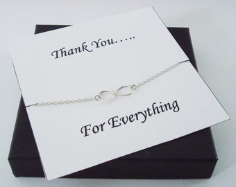 Infinity Sterling Silver Bracelet ~~Personalized Jewelry Gift Card for Mom, Friend, Best Friend, Sister, Bridal Party, Thank You Card