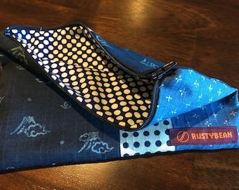 Japanese multi-print & polka dot zipper pouch