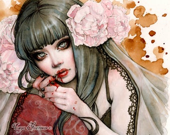 Carmilla's Awakening Art Print 8x10Inches Fantasy Goth Vampire Art by Enys Guerrero