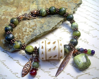 Turquoise And Gemstone Bracelet In Yellow Turquoise And Jasper, Copper Charms