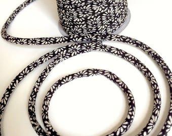cords 3mm, Chirimen Japanese, chrysanthemum flowers pattern, black (C3407-3)