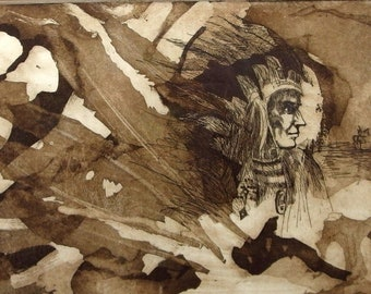 """Partel Signed Limited Edition """"The #1 American"""" 1976 Native American Print"""