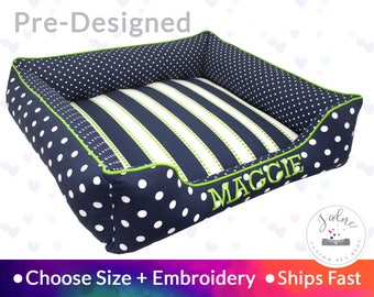 Dog Bed Personalize Pet Bed Dog Beds navy blue bed polka dot custom made to order name embroidery ships fast