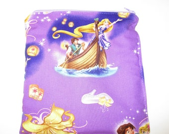 RTS Rapunzel Fabric Reusable X-Large Sandwich 7.5 x 7.5 cotton top food grade pul inside (can also be used as a wet bag)