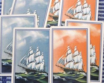 6 Sailing Ships Vintage Playing Cards - 3 Blue, 3 Orange