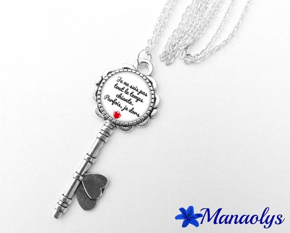 """Necklace silver key, message, quote, """"I'm not always boring, sometimes I sleep"""", 362 glass cabochons"""