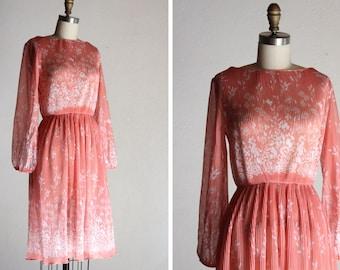 1970s Fern Garden Pleated Dress