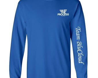 Trust The Process Tee (Long Sleeved) Royal/White