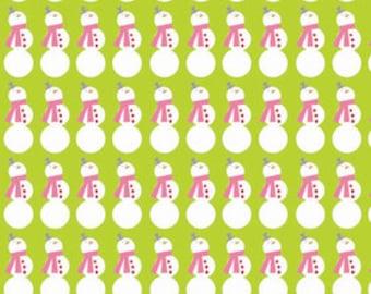 Riley Blake Designs Christmas Fabric - Snowman Lime - Holiday Fabric - Lime