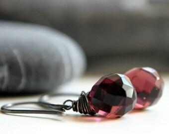 Silver Raspberry Earrings - Oxidized sterling silver and Czech Glass pink teardrop beads - burgundy wine red
