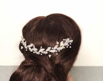 Thin Leaf Bridal Halo | Silver Bridal Halo | Silver Headpiece | Thin Leaf Headpiece | Silver Pearl Halo | Bridal Accessories |