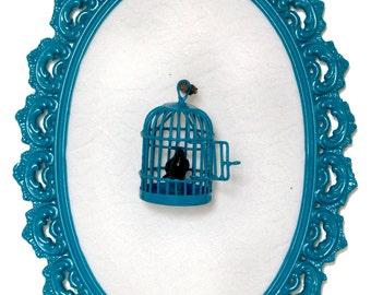 Birdcage with Black Bird in Victorian Frame - Wall Art Decor 5.5x8in