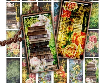 75% OFF SALE Grunge Flowers Digital collage sheet PR011 printable download 1x2 inch image size rectangle glass pendant resin 1x2 domino