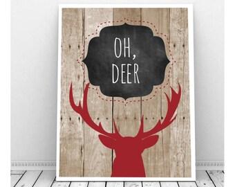 Oh Deer Art, Deer Silhouette Print, Deer Antler Decor, Digital Print, Cabin Decor, Deer Silhouette Art, Deer Silhouette, Rustic Decor