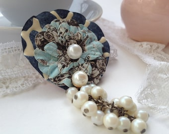 SALE!! Victorian Inspired Dusk Slate Blue Flower Brooch with Vintage Pearls Shabby Chic
