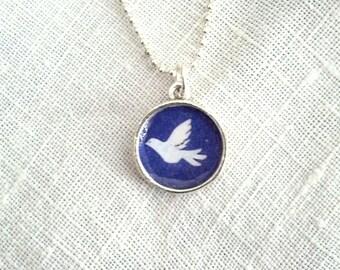 Tiny Dove  of Peace Pendant. Lovingly Handmade in Brooklyn by Wishing Well Studio.