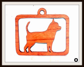 Dog Ornament, Chihuahua, Scroll Saw, Wood, Cherry