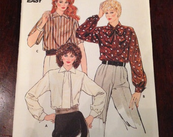 Misses Blouses Butterick Fast & Easy Sewing Pattern 6131 70s UNCUT Size 8-10-12