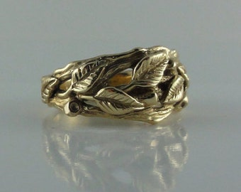 Leaf Engagement Ring, Leaf and Twig Wedding Band, Branch Leaf Ring, Organic Wedding Band, Leaf Wedding Band, Twig Wedding Band